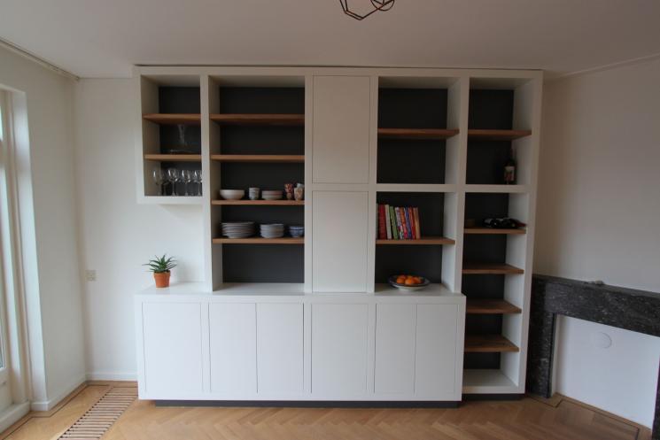Kast Met Planken : Wandmeubel boeken kast eikenhout met dik wit frame beer hendriks