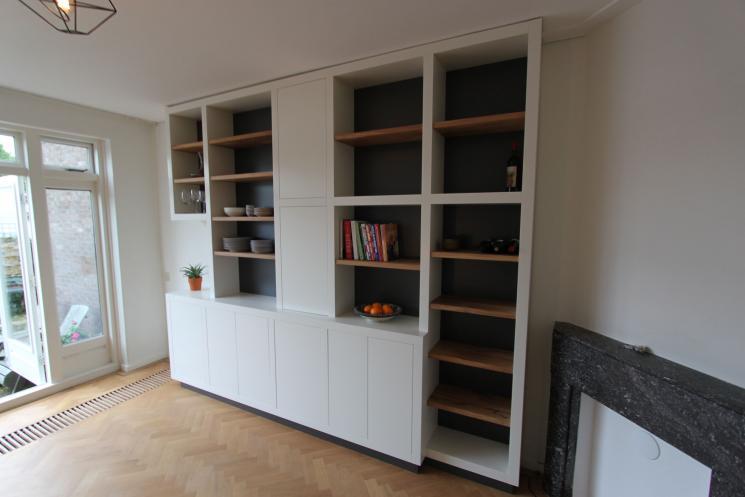 fabulous kast eikenhout met dik wit frame wandmeubels with witte boekenkast