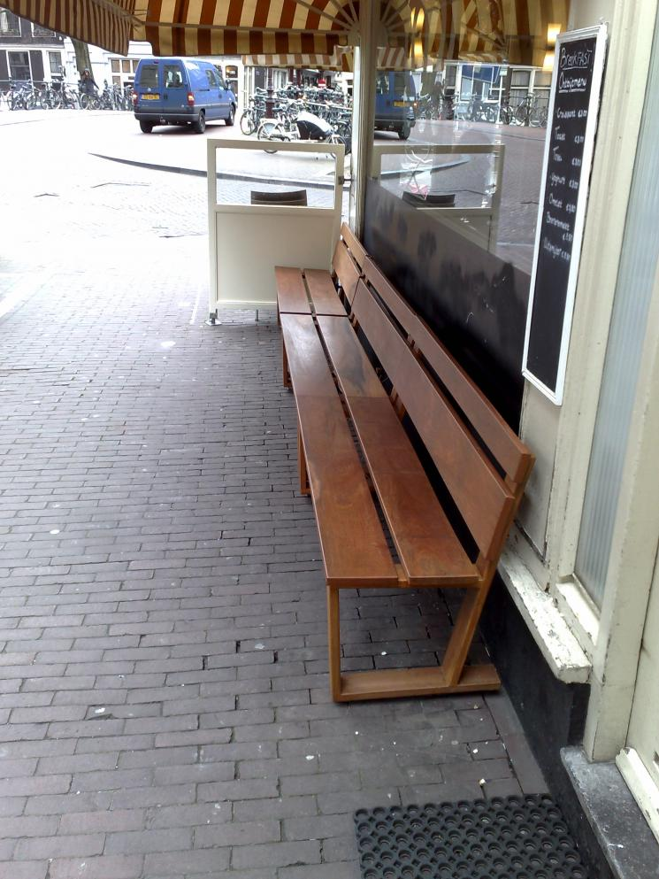 Merbau, Terrasbanken, Cafe het Paleis, buitenbank, Amsterdam,Azobe