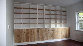 gebruikt steigerhout,boekenkast op maat,maatwerk,Amsterdam,Santport-Noord,lades,deurtjes steigerhout,Beer Hendriks